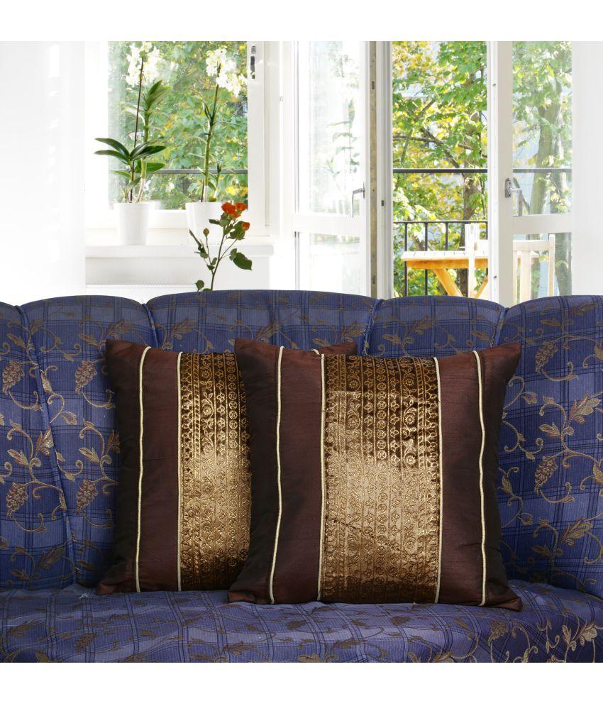 Dekor World Set of 2 Polyester Cushion Covers 30X30 cm (12X12)