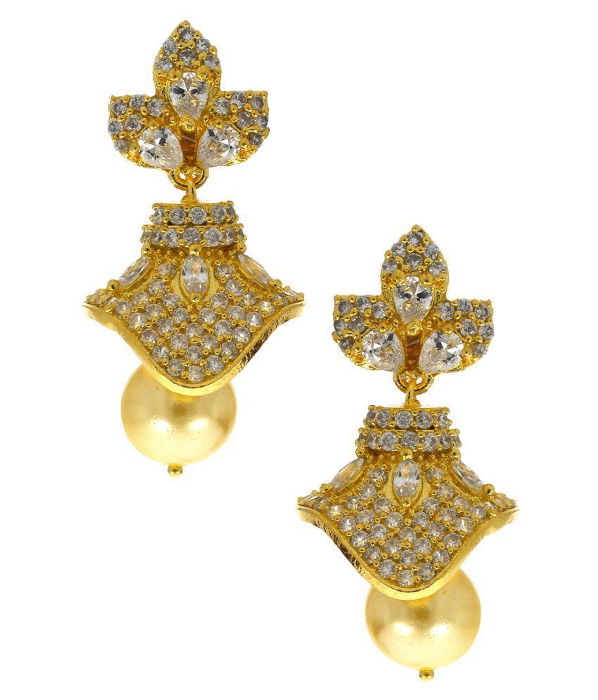 Anuradha Art Golden Finish Studded American Diamond Stone Traditional Jhumki/Jhumkas For Girls Women