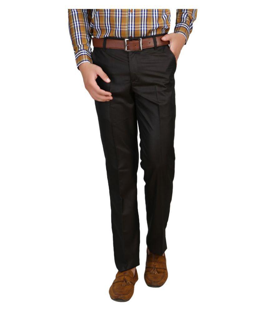 Armazo Black Regular -Fit Flat Trousers