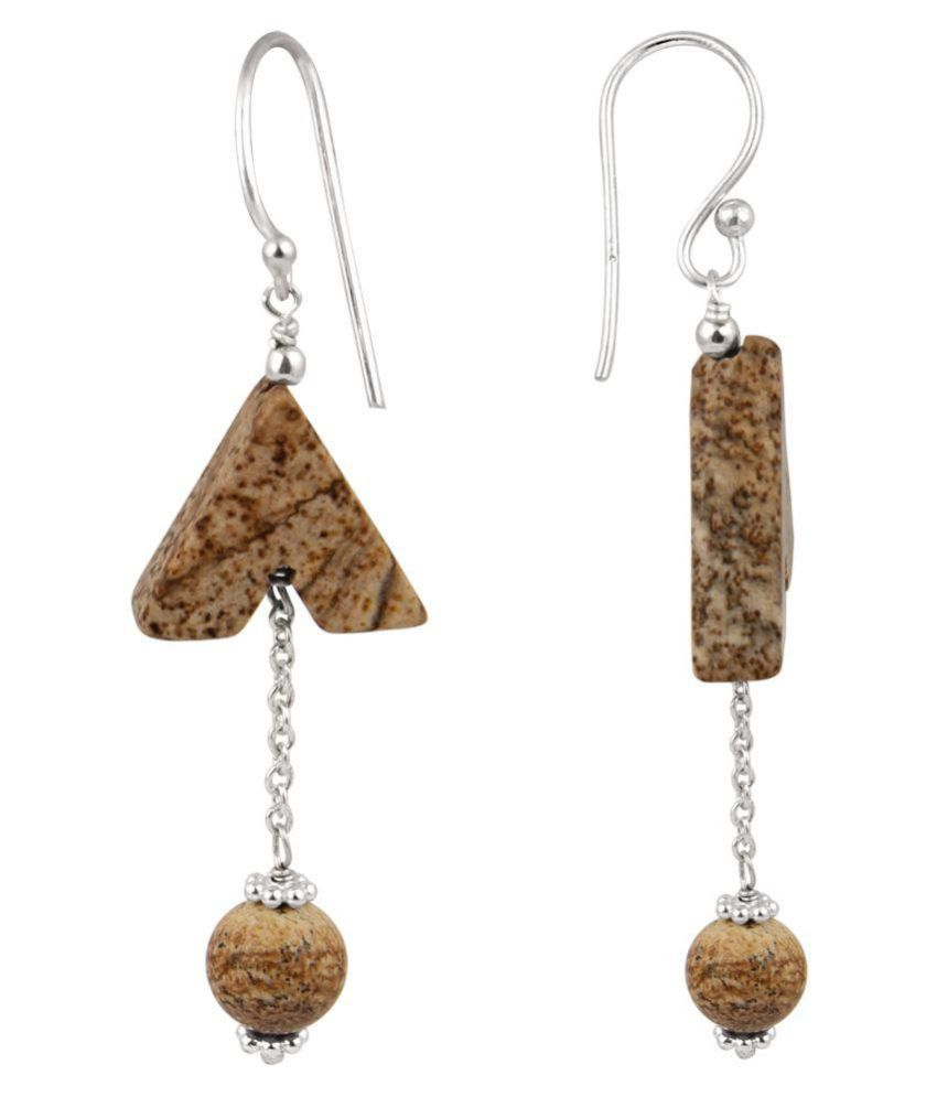 Picture Jasper in Arrowhead and Round 925 Silver Earrings