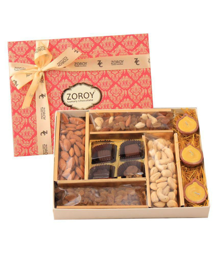 Zoroy Luxury Chocolate Assorted Box Diwali 4 chocolates Dry fruits Diya 245 gm