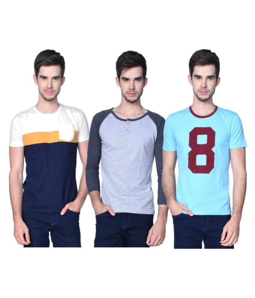 Glizt Multi Round T-Shirt Pack of 3