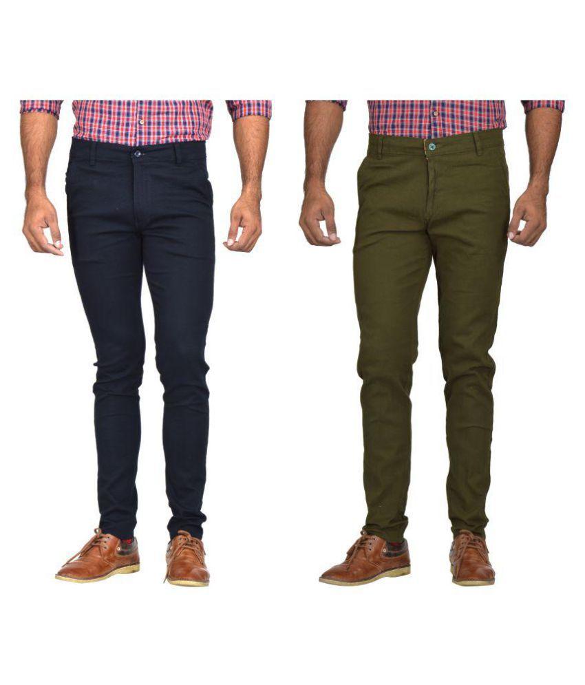Kushsection Dark Green Regular -Fit Flat Chinos