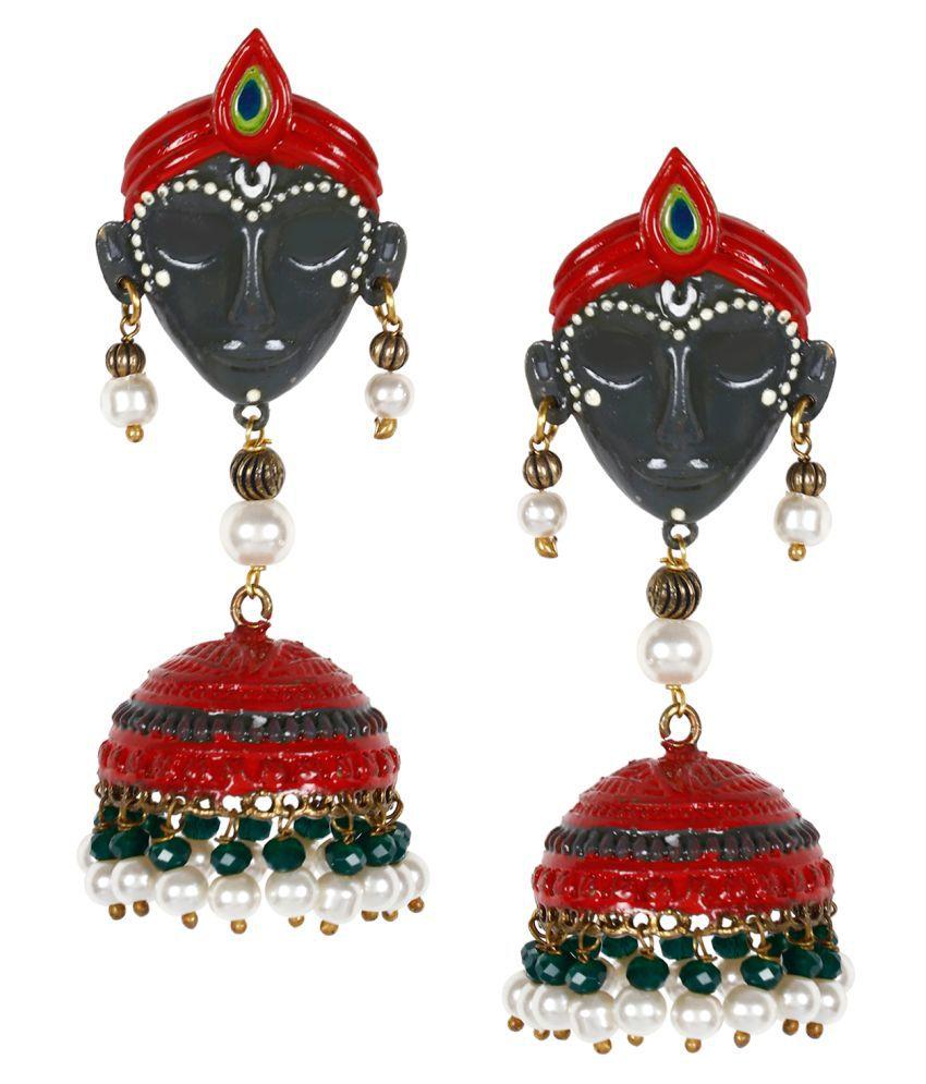 Penny Jewels Alloy Party Wear & Wedding Latest Designer Fancy Krishna Jhumki Earring Set For Women & Girls
