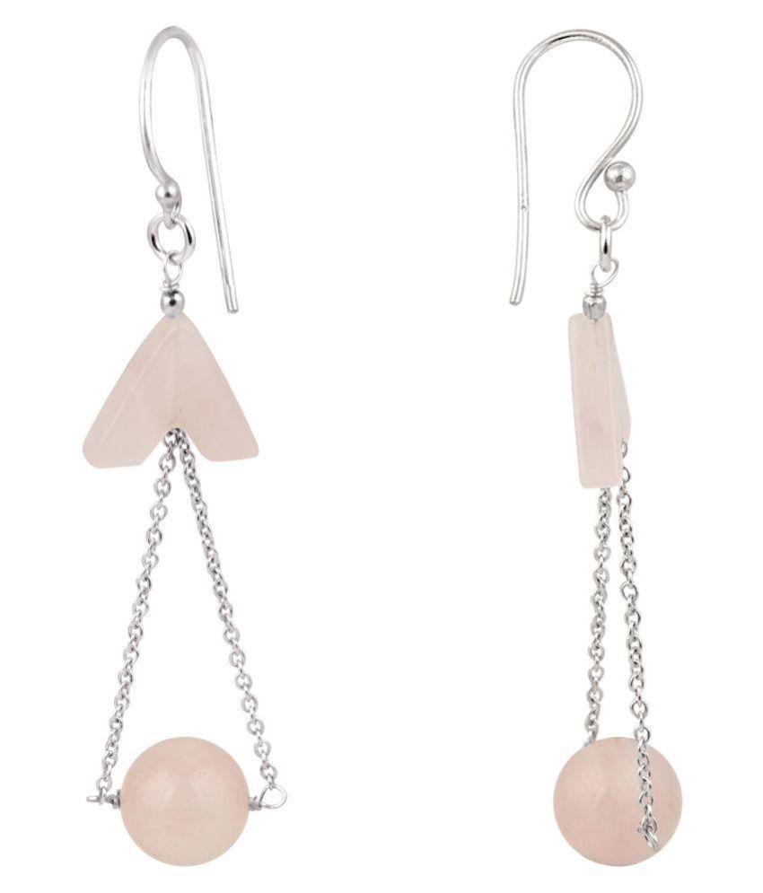 Rose Quartz Dangle 925 Silver Earrings