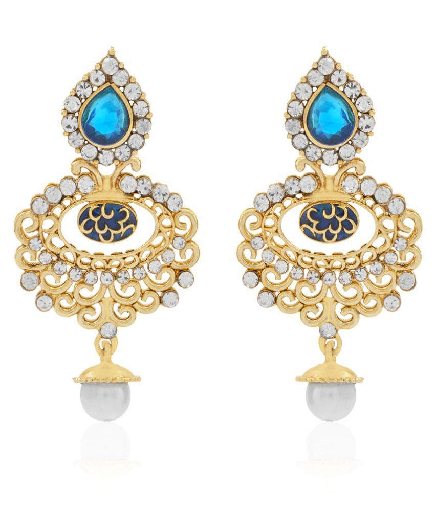 Jewels Galaxy Delicate Design Multi-Colour Gold Plated Drop Earrings for Women/Girls