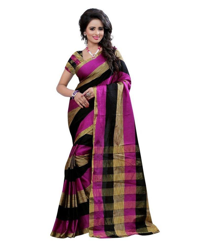Dharmnandan Fashion Pink Polycotton Saree