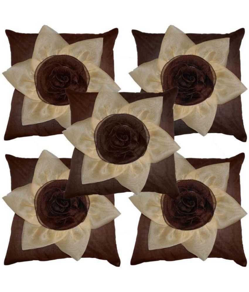 roshini  enterprises Set of 5 Polyester Cushion Covers 40X40 cm (16X16)