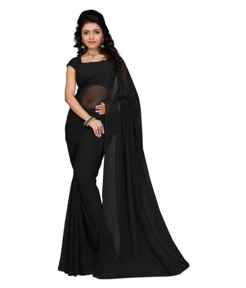 Fab Liza Black Georgette Saree