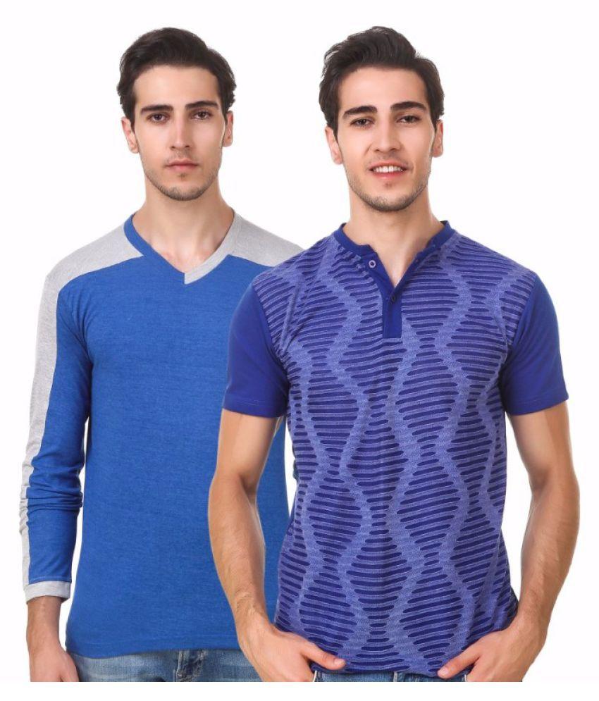 Sen Voler Blue V-Neck T-Shirt