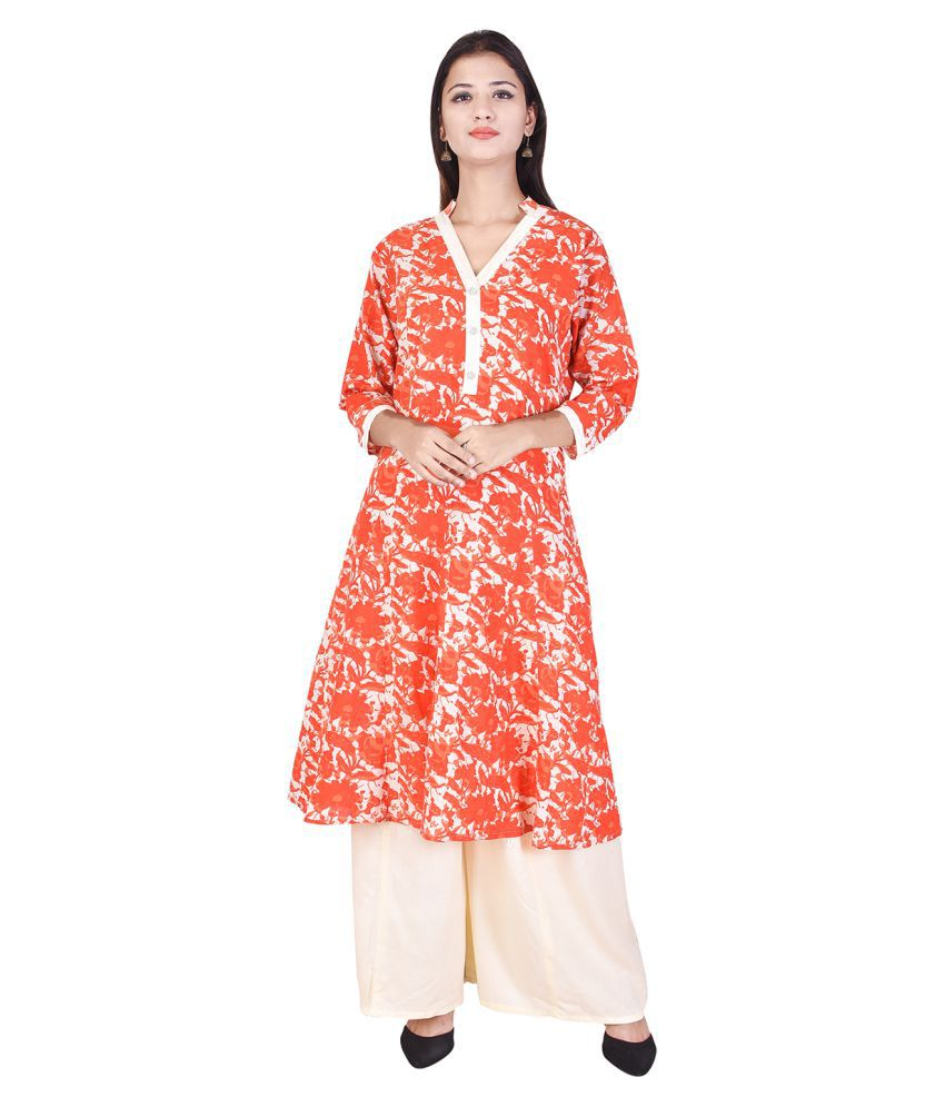 WHIY Orange Cotton Straight Stitched Suit