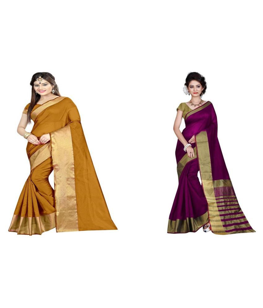 Bindani Studio Multicoloured Cotton Saree Combos