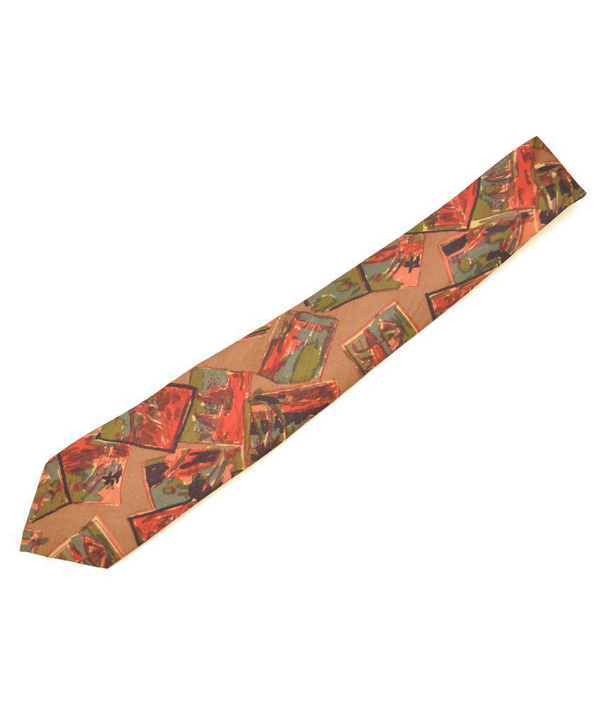 Sakshi International Brown Abstract Silk Necktie