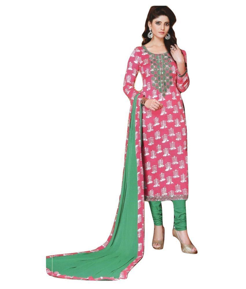 Shalibhadra Pink Cotton Dress Material