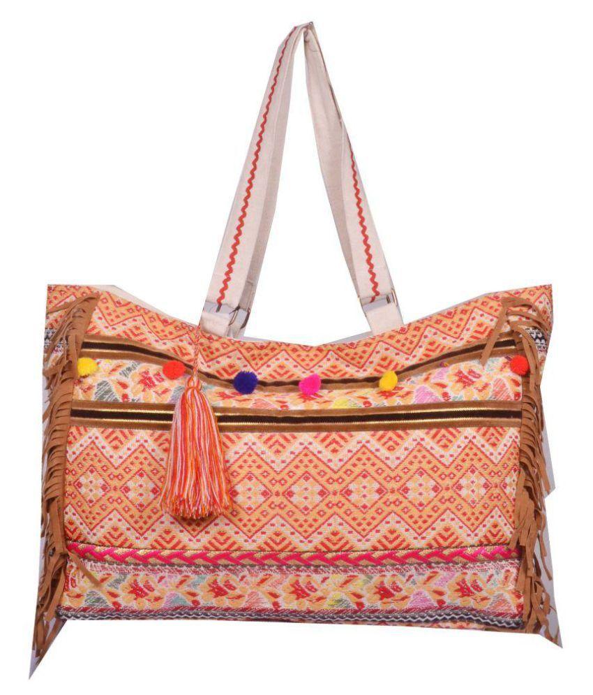 modaveri Orange Cotton Shoulder Bag