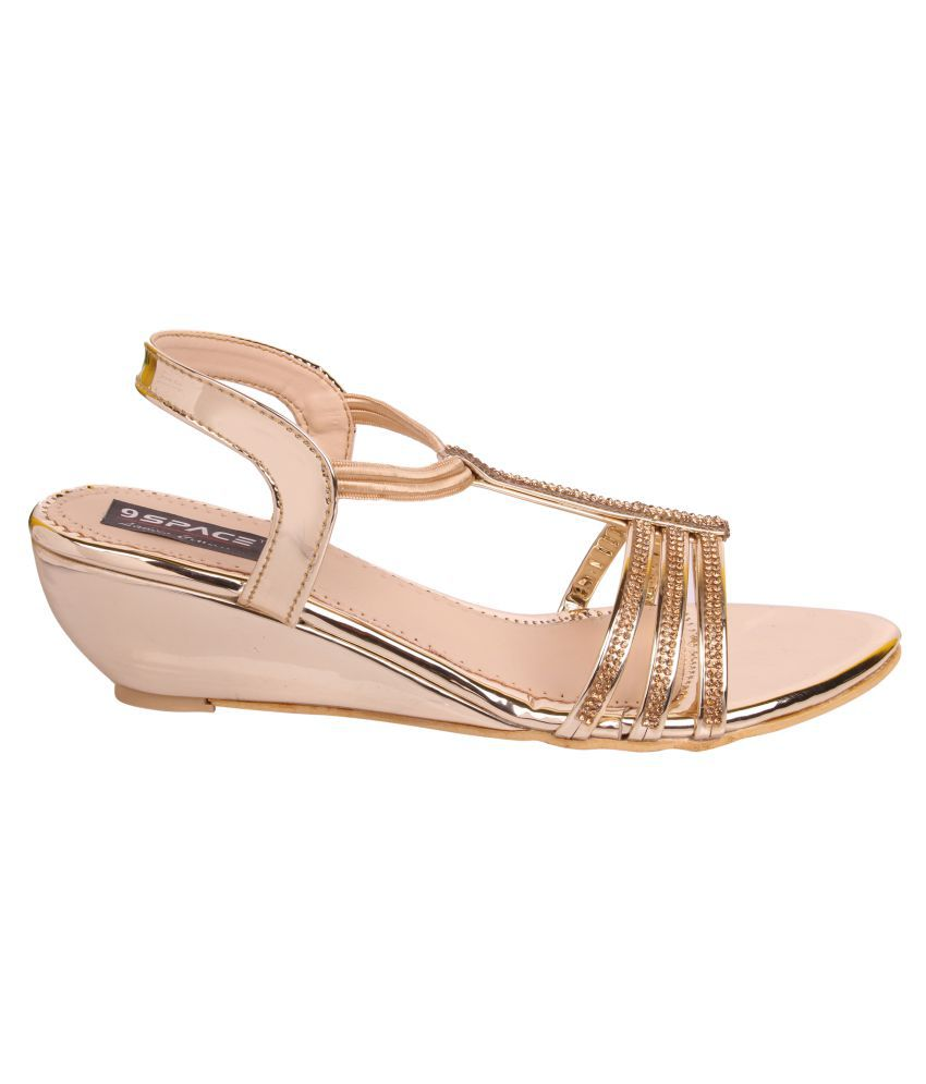 f6c81ecf38 9Space Gold Wedges Heels Price in India- Buy 9Space Gold Wedges ...