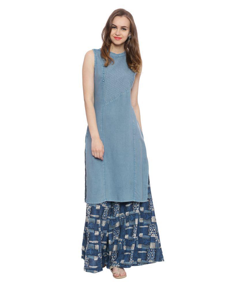 Evam Blue Cotton Straight Kurti