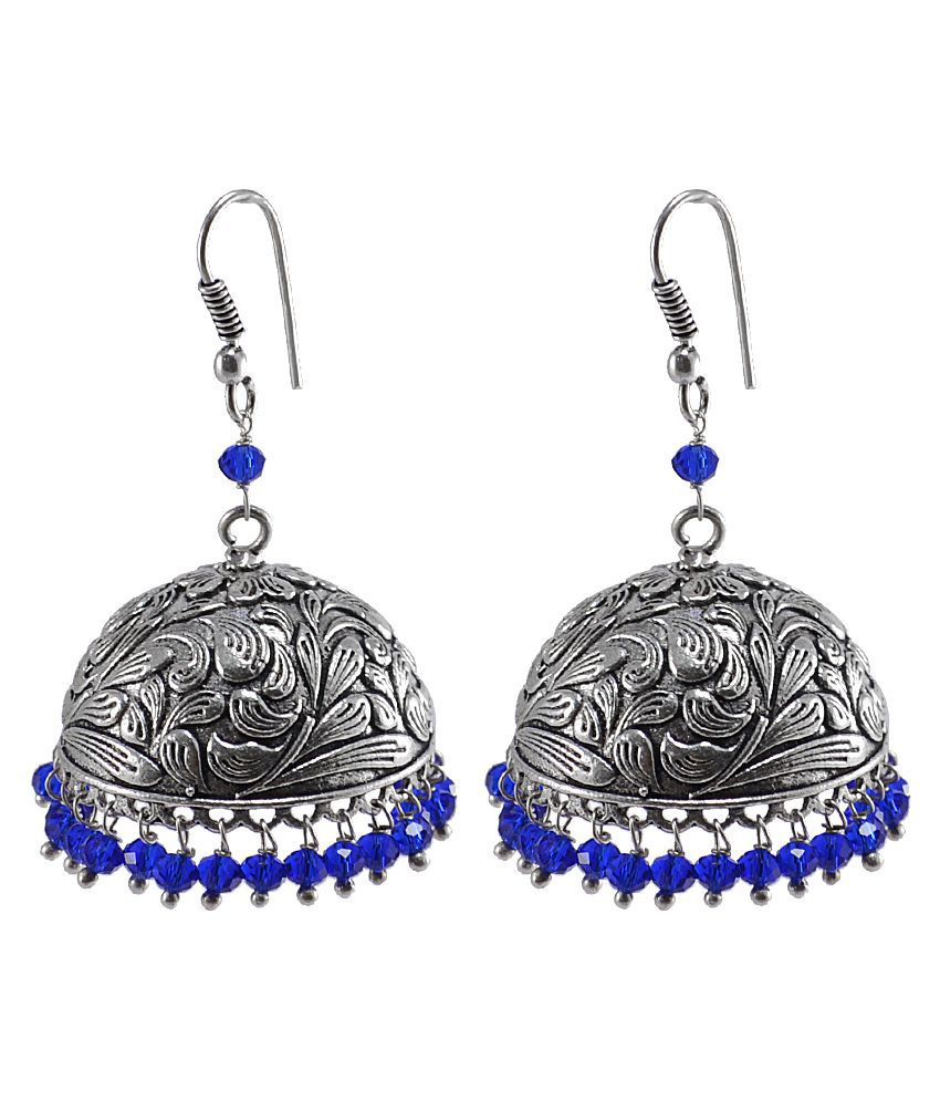 Bollywood Belly Dance Women Party Wear Jhumki Chandelier Earring With Smal Blue Crystals PG-106854