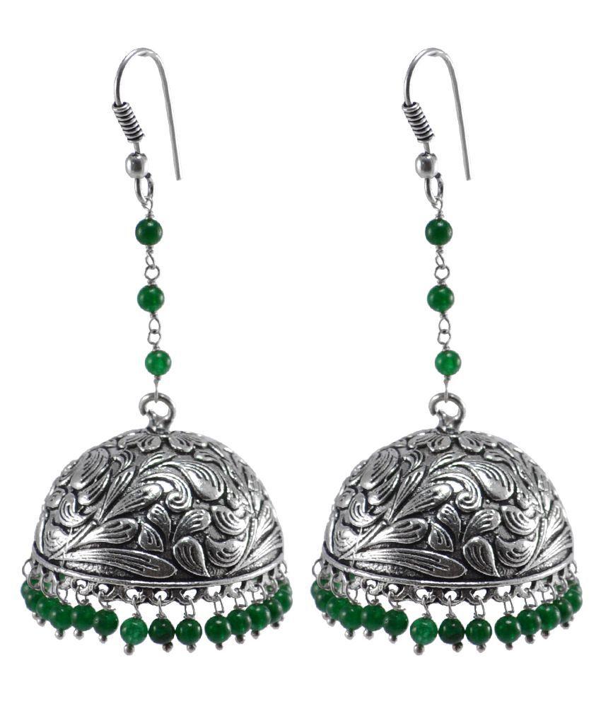 Silvesto India High Trendz Traditional Green Quartz Beads Jhumki Earrings - Indian Jewlery - Dandiya Jewellery PG-106802