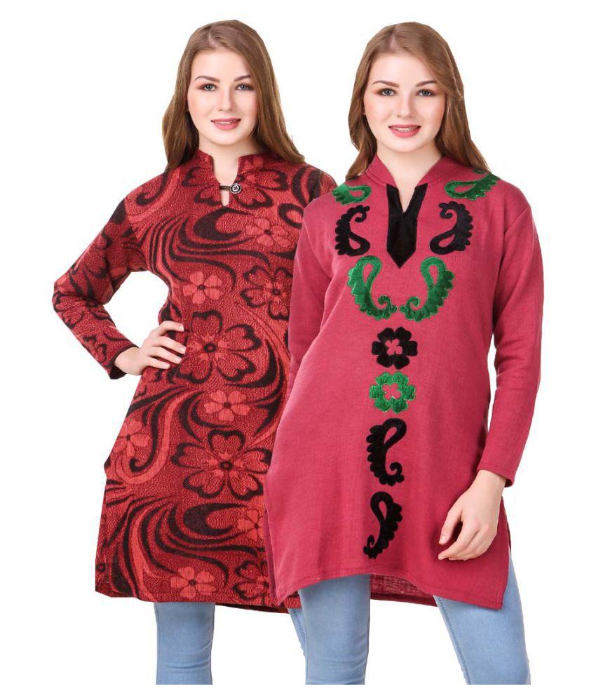 KRITIKA WORLD Multicoloured Woollen Straight Kurti