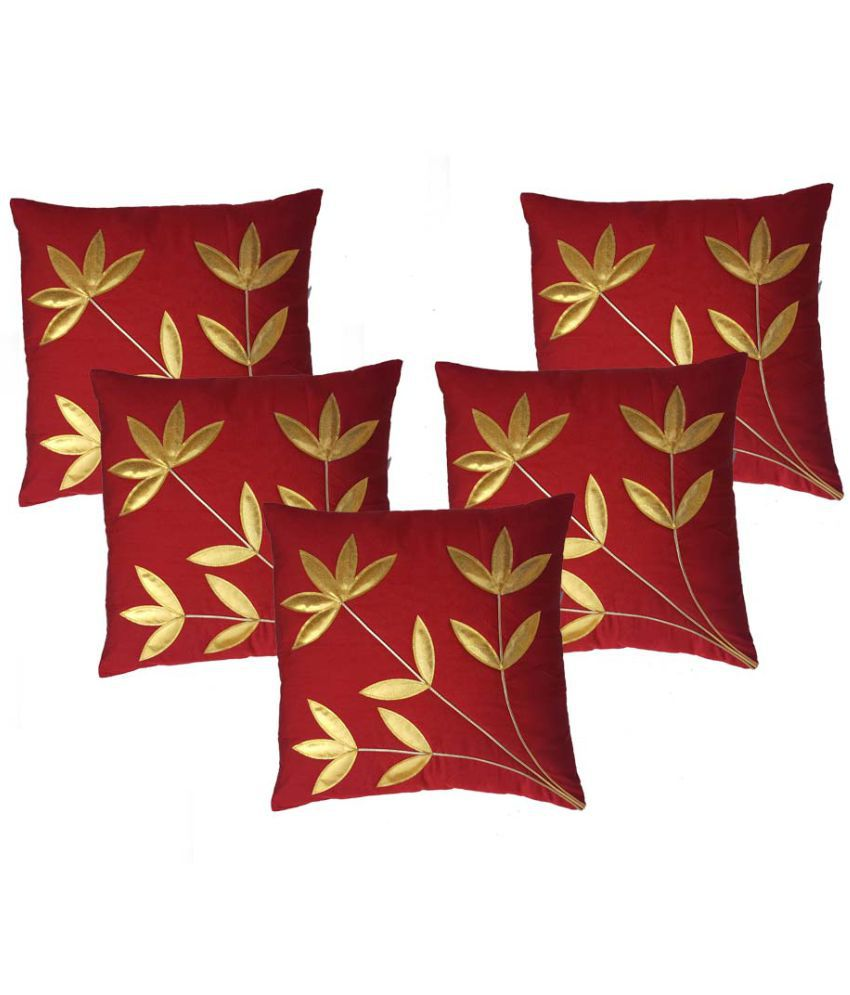 Décor India Set of 5 Polyester Cushion Covers 40X40 cm (16X16)