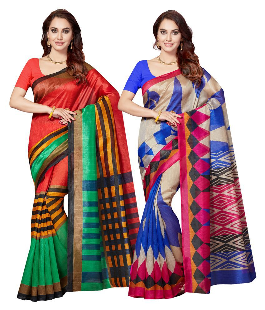 Ishin Multicoloured Art Silk Saree Combos