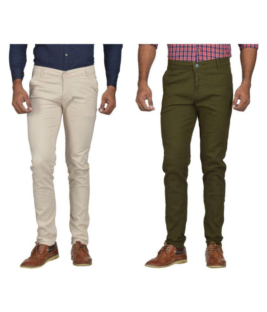 Kushsection Off White Slim -Fit Flat Chinos