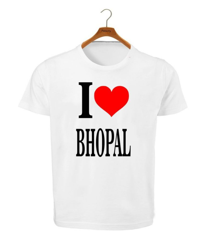 RITZEES White Dry Fit Polyester T-Shirt On I Love Bhopal