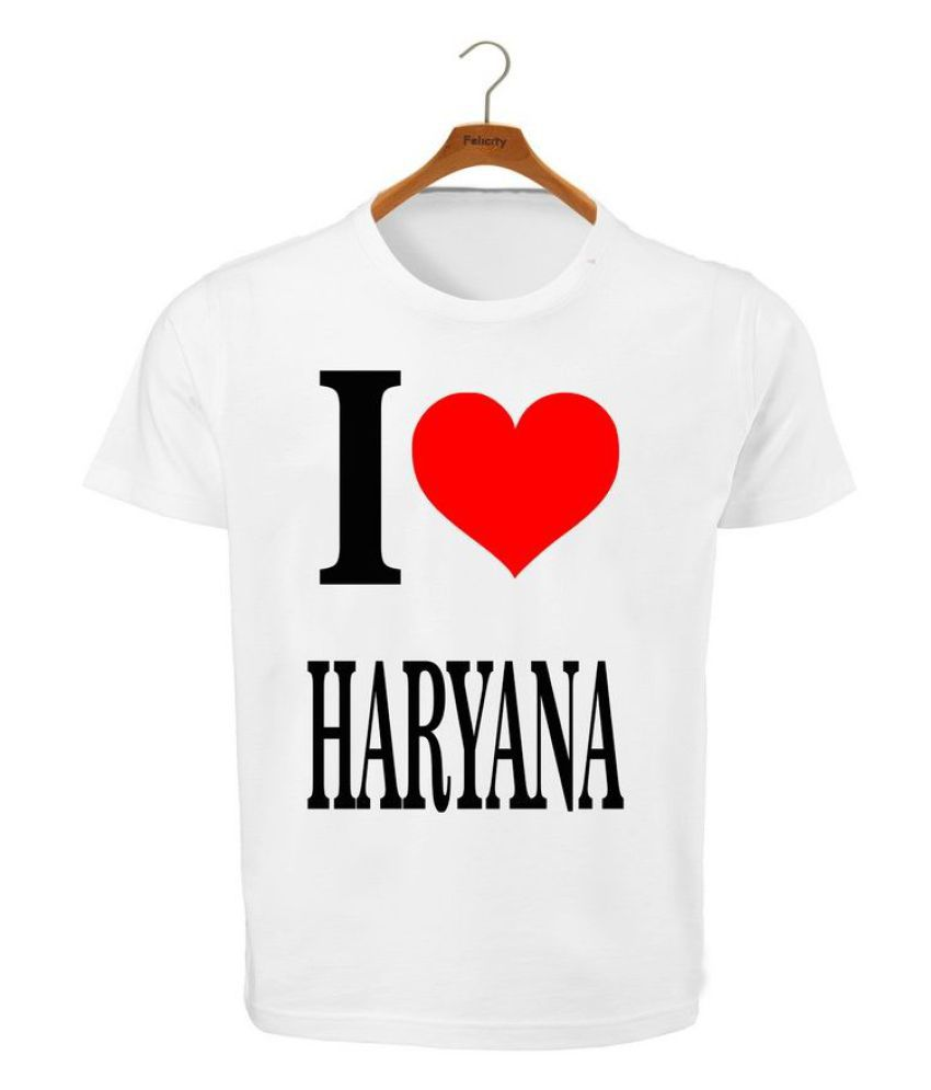 RITZEES White Dry Fit Polyester T-Shirt On I Love Haryana