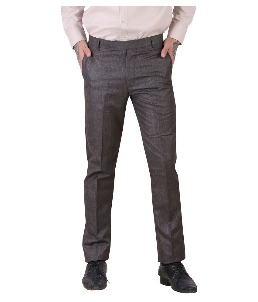 York Style Grey Slim -Fit Flat Trousers