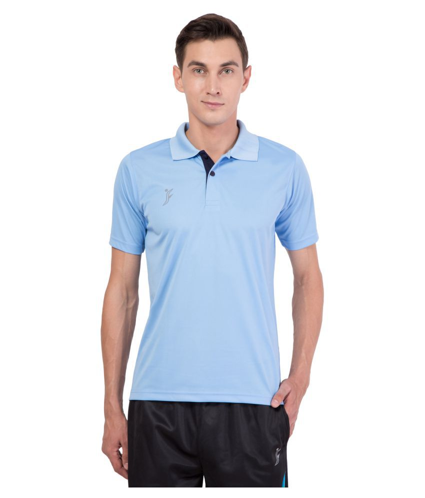 FINO Blue Regular Fit Polo T Shirt