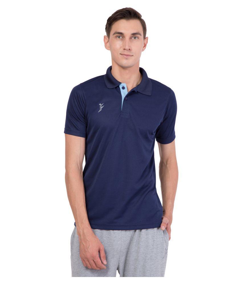 FINO Blue Regular Fit Polo T Shirt