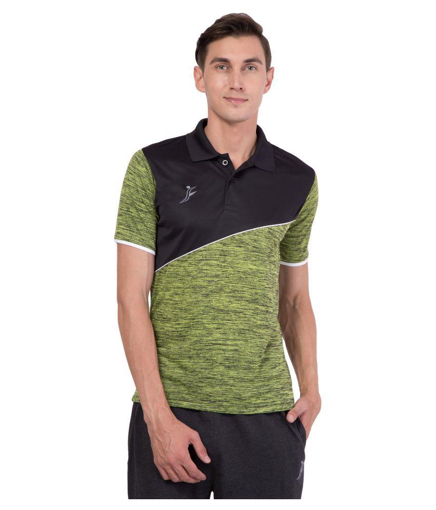 FINO Green Regular Fit Polo T Shirt
