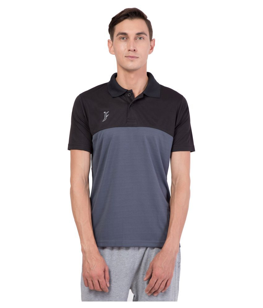 FINO Grey Regular Fit Polo T Shirt