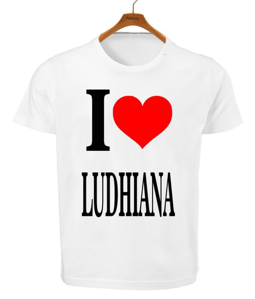 RITZEES White Dry Fit Polyester T-Shirt On I Love Ludhiana