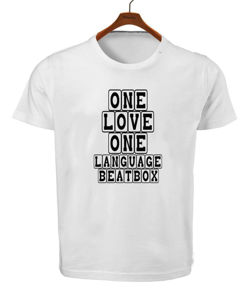 RITZEES White Dry Fit Polyester T-Shirt On One Love One