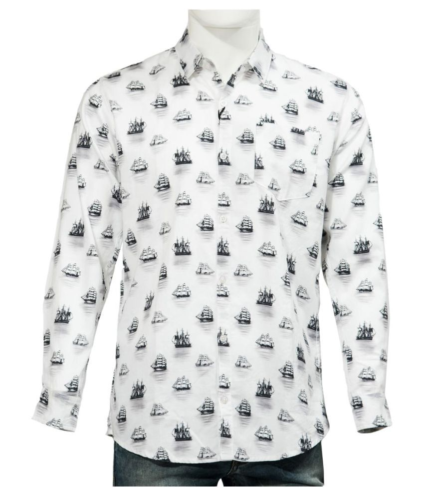 360 Degree White Casual Regular Fit Shirt