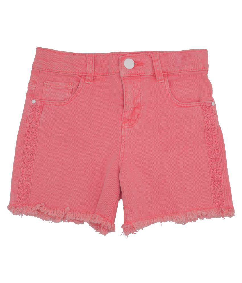 HRINKAR Short For Girl's Casual Solid Cotton, Cotton Linen Blend, Cotton Lycra Blend, Cotton Modal Blend