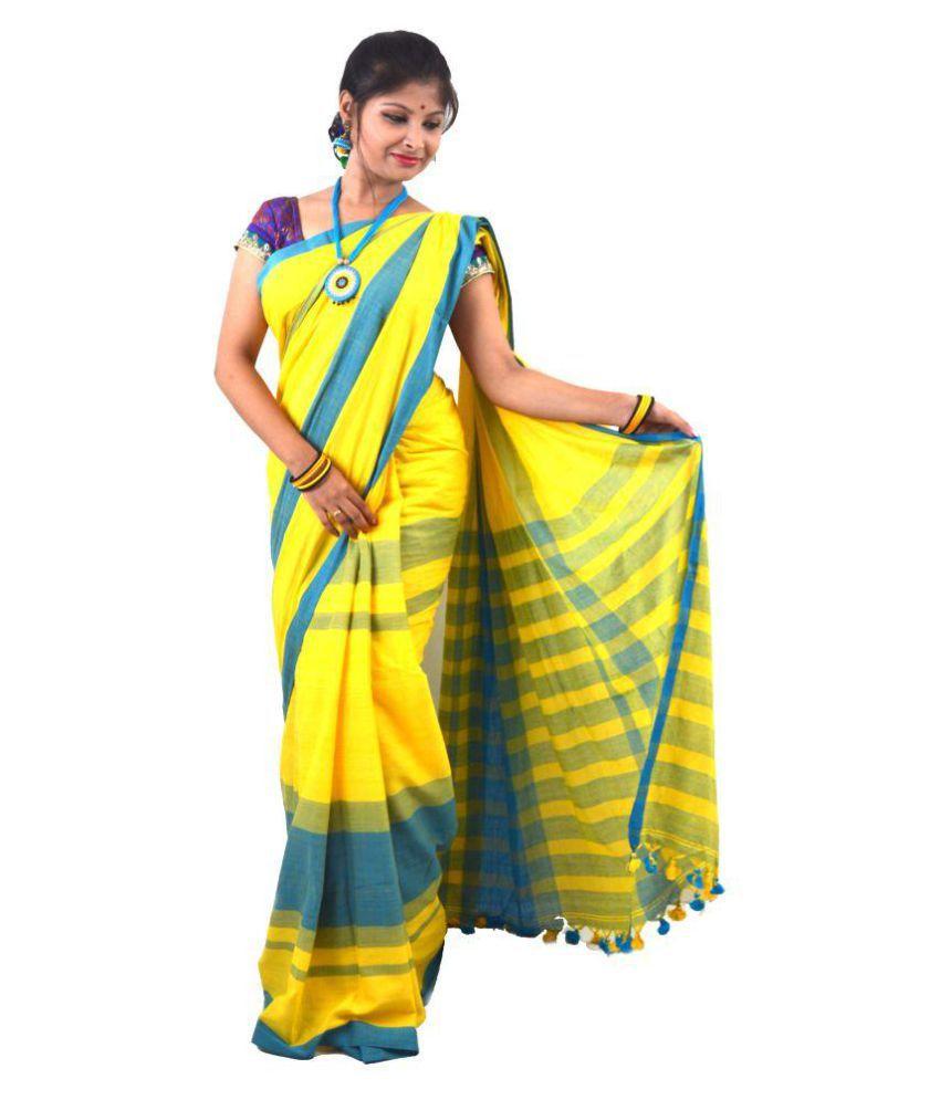3d1de2eb1febbc Nishuj Fashion's Khadi Cotton Saree With Blouse Material(Yellow & Sky-Blue  Combination) ...