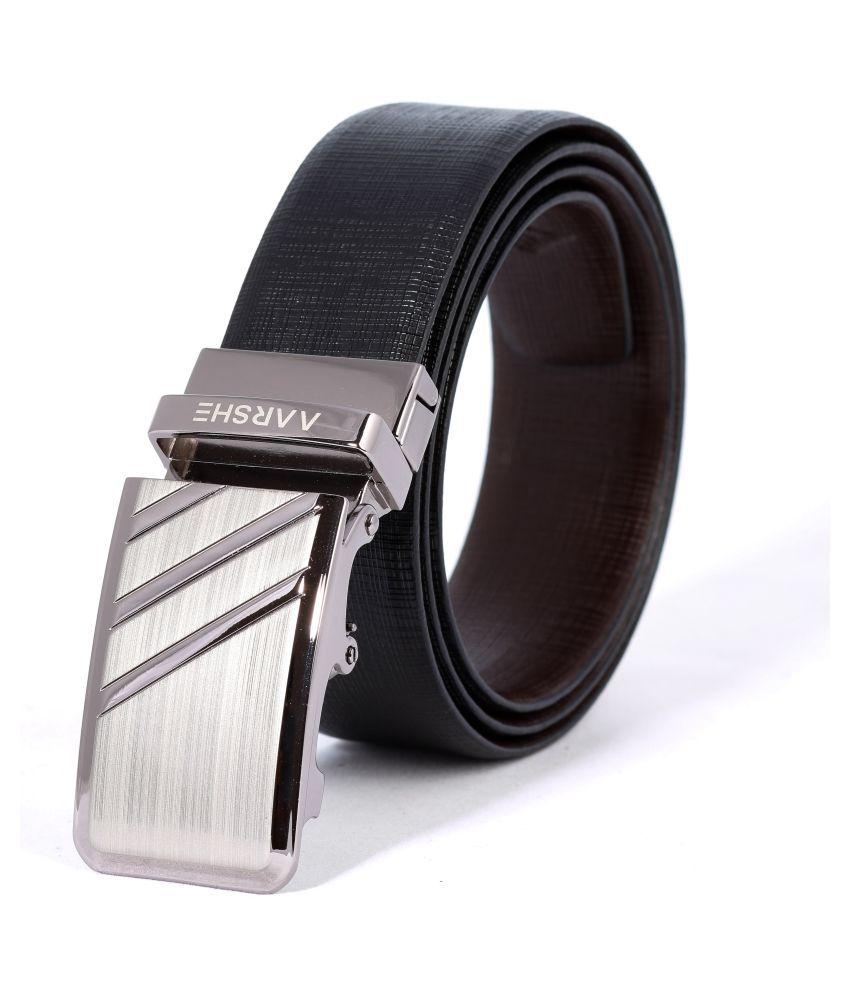 AARSHE Black Leather Formal Belts