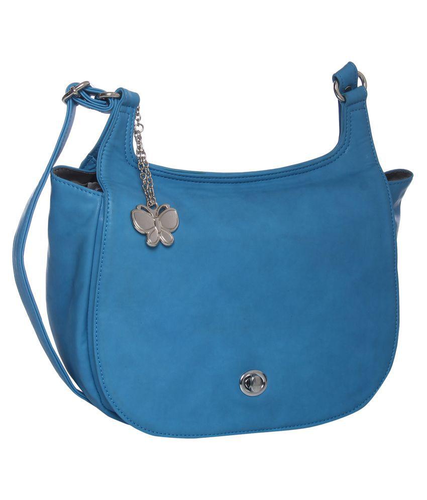Butterflies Sky Blue P.U. Sling Bag