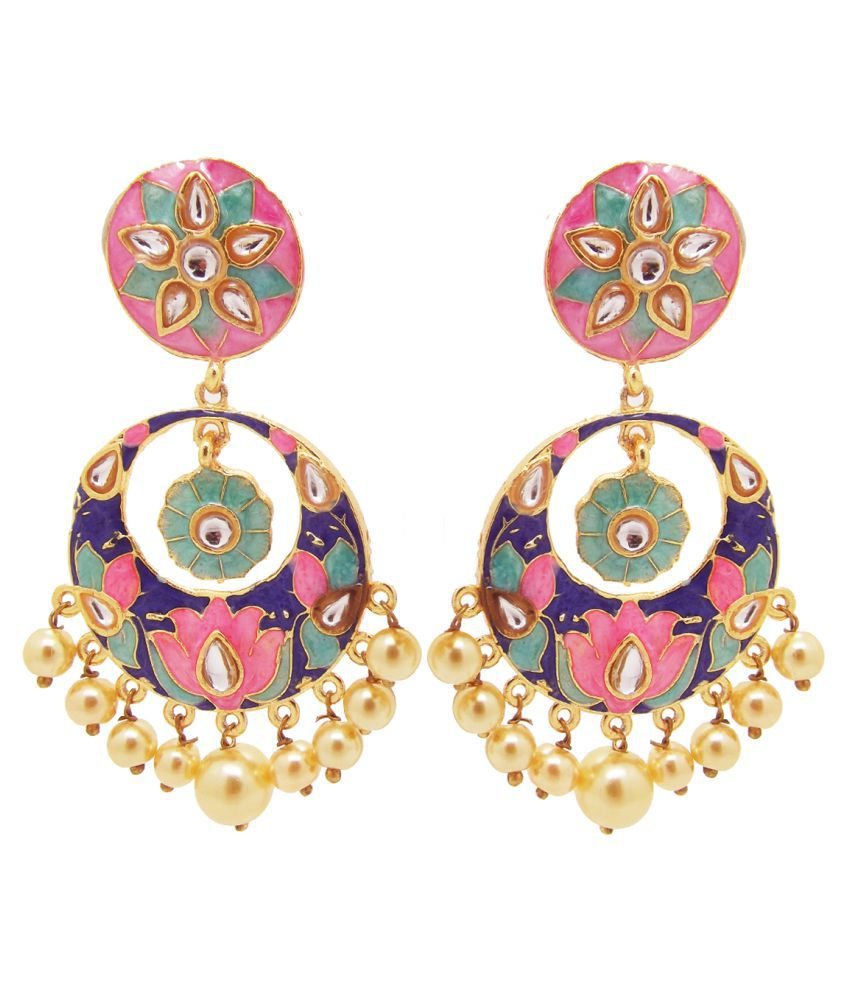 9blings Kundan Meenakari Hand Painted Pearl Pastel Chandbali Earrings