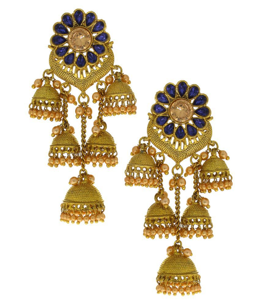 Anuradha Art Blue Colour Classy Three Layer Wonderful Jhumki/Jhumkas Styled With Beads Droplet Traditional Earrings For Women/Girls