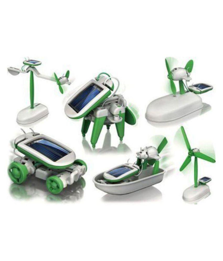 Aaryan Enterprise Educational 6 In 1 Solar Power Energy Robot Toy Kit, White/Green
