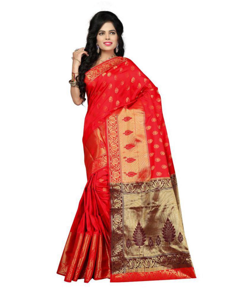 maroosh Red Silk Saree