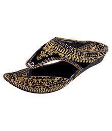 HUE Gold Flat Ethnic Footwear