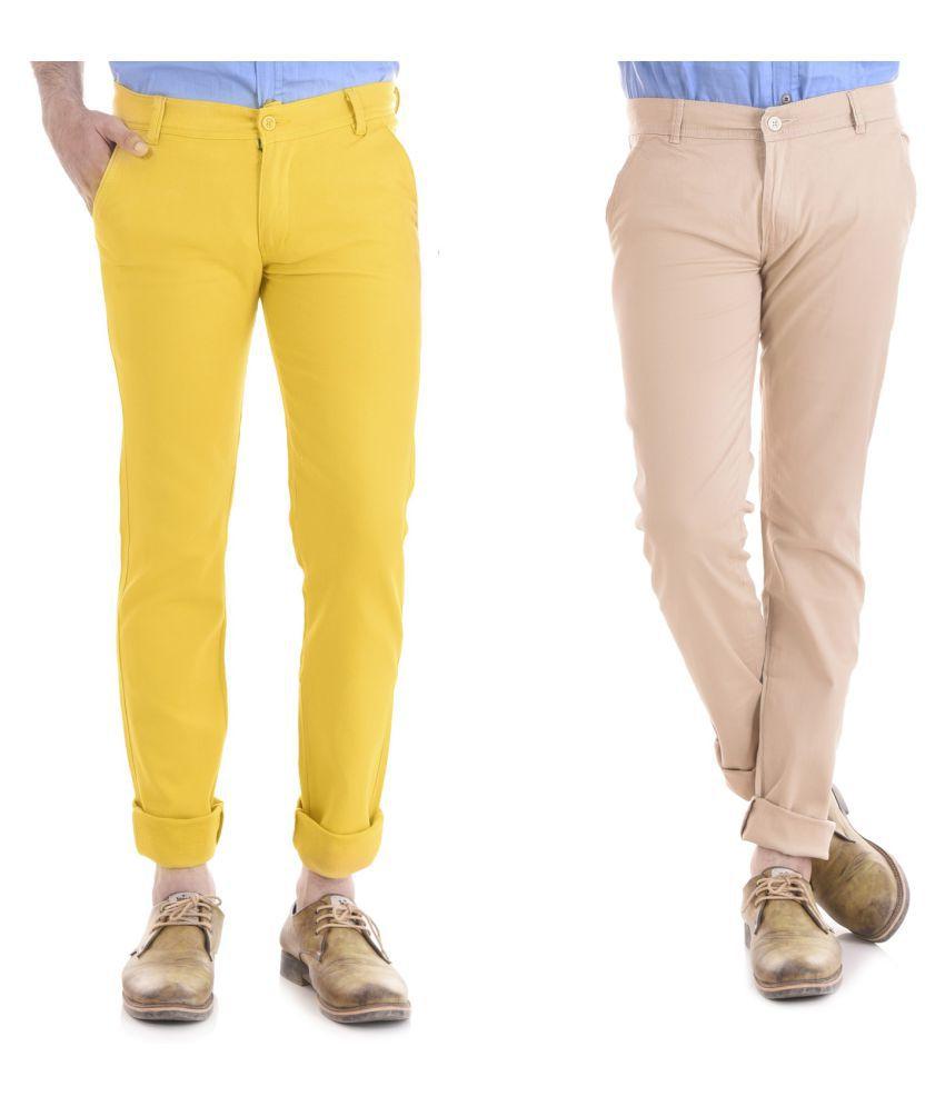 Kushsection Yellow Regular -Fit Flat Chinos
