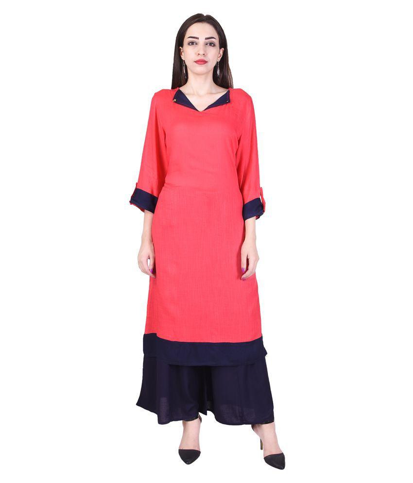 CHINMAYA Pink Rayon Straight Stitched Suit
