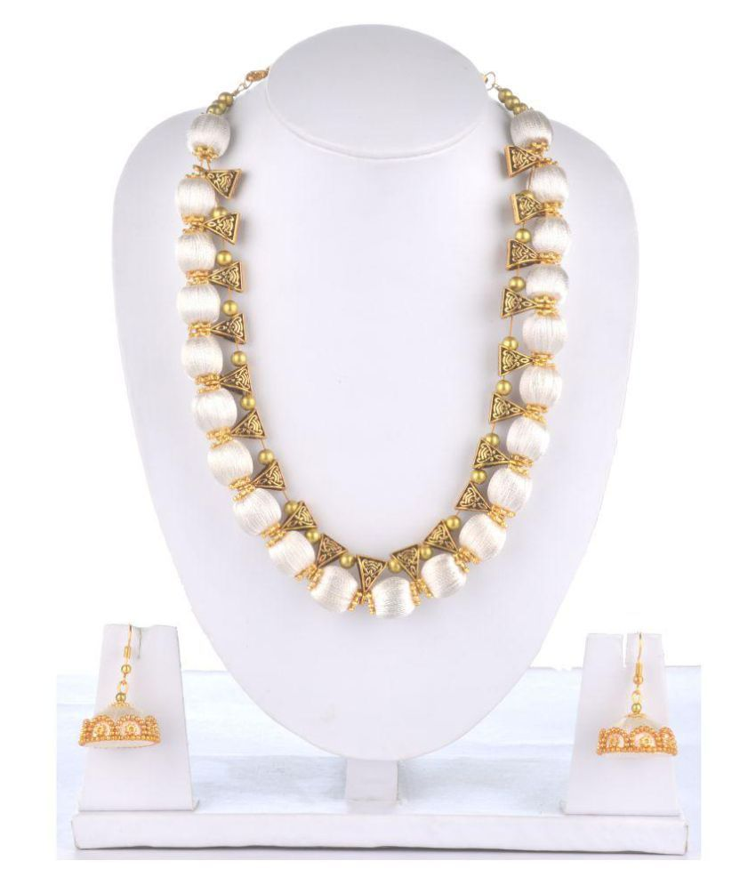 MDS Silk Thread with Golden Bales Necklace and Jhumki Ear Rings set for Beautiful Women (MDS-1012)