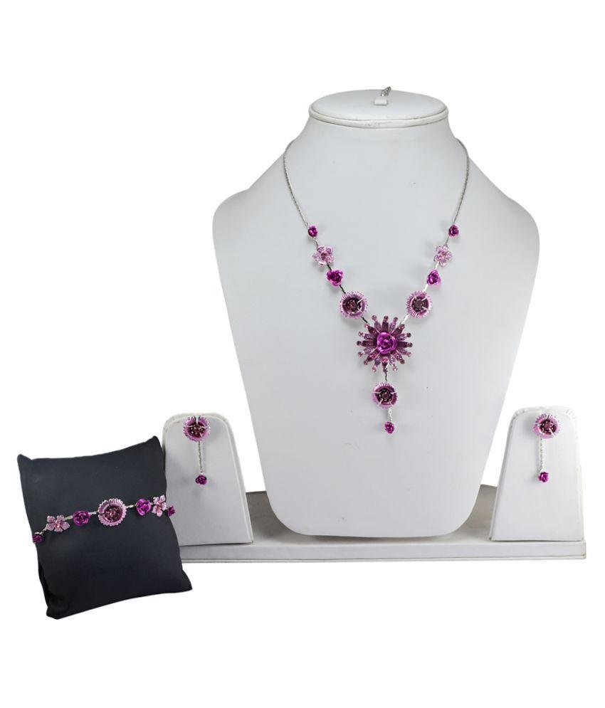 Silvesto India Pink Quartz Gemstone Necklace & Earring Set PG-125370
